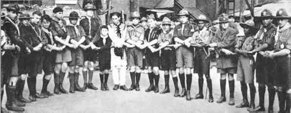 Uniforms from around the world at the first World Jamboree - 1920
